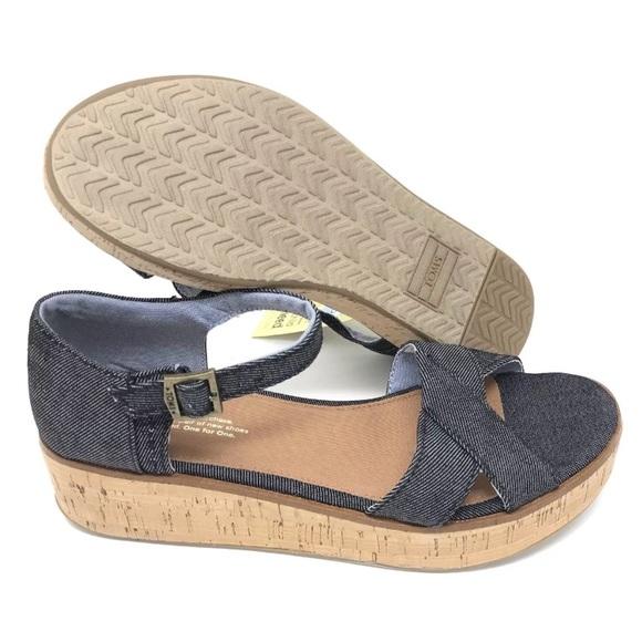 f76415ceae3f Toms Wedge Harper Black Denim Sandals Ankle Strap